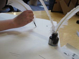 A quill pen and ink......