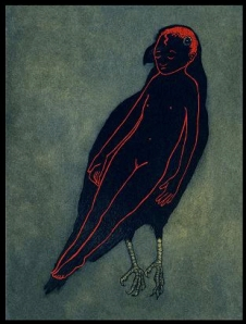 "Aquatint from ""Raven Girl"", by Audrey Niffenegger - via guardian.co.uk"