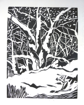 Ancient Tree - Gaer Fawr - linoprint comp